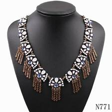 2017 New Vintage Gold Plated Chunky Statement Pendant Choker Crystal Necklace