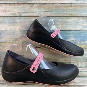 Dawgs Womens 9M Black Slip Resistant Mary Jane Work Shoe Top Hook & Loop Strap
