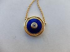 Collier Mittelteil blau email. mit 1 Brillant von ca. 0,05 ct in 750 Gold