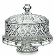 """Crystal Cake Stand Footed Cake Plate With Dome Cover Displayware 14"""" Tall"""