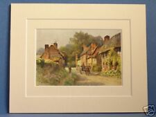 FOWNHOPE OLD COTTAGES HEREFORD DOUBLE MOUNTED VINTAGE HASLEHUST PRINT C1920 RARE