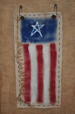 Grubby Fabric Handpainted Sign American Flag Wall Hanging ~ Rusty Bells & Pins