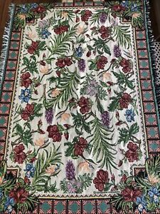 """Goodwin Weavers Tapestry Floral 46"""" x 67"""" Lap Throw Blanket 100% Cotton USA Made"""