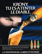 PUBLICITE ADVERTISING 035  1986   KRONY DE KRONENBOURG   bière & du fruit  peche