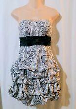 RUBY ROX Black White Print Pick Up Skirt Strapless Cocktail Evening Dress Size 1