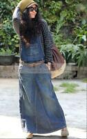 Womens Retro Washed Blue Overalls Jean Skirt Loose Fit Maxi Denim Long Skirt hot