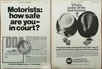AC Thermostat Pressure Caps / Defended Drivers Association Vintage Advert 1967