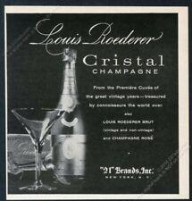 1958 Cristal Champagne bottle photo Louis Roederer vintage print ad