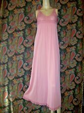 Vintage Pink Silky Nylon Empire Formal Lacy Nightgown Nighty Lingerie S 32-34