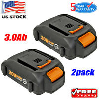 2x Battery for WORX WA3520 20V 3.0Ah Max Lithium WA3525 WG151s WG155s WG163 Tool