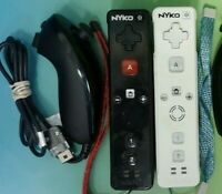 NYKO  2 Sets Nintendo Wii Remote Lot OEM Nunchuck Black White Working !