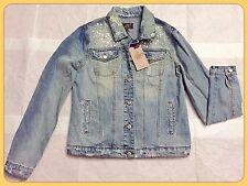 NWT ABS ALLEN SCHWARTZ Distressed Stud Embellished Denim Jacket Size S $108