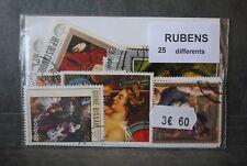 Peintre,tableaux de Rubens, 25 timbres thématiques, tous différents