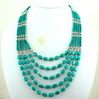NATURAL TIBETAN GREEN TURQUOISE GEMSTONE BEADED NECKLACE 80 GRAMS
