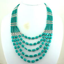 BEAUTIFUL NATURAL TIBETAN GREEN TURQUOISE GEMSTONE BEADED NECKLACE 80 GRAMS