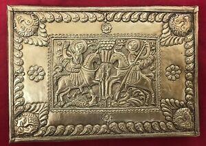 Icône orthodoxe byzantine en argent représentant Saint Georges et Sant Démétrius