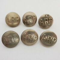 WW2 ARP Warden buttons white metal set of 6 23mm
