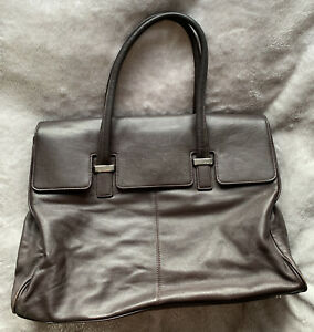 KNOMO helena laptop bag brown leather good condition red lining - practical