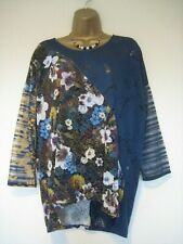 Desigual blue colourful floral top size XL