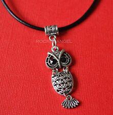 Antique Silver Plt Ornate Owl Pendant Necklace Ladies Girls Gift Wildlife Nature