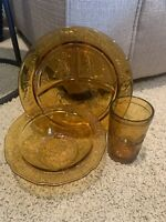 Tiara Amber Children's Grill Plate, Bowl, & Cup Nursery Rhymes Set Indiana Glass