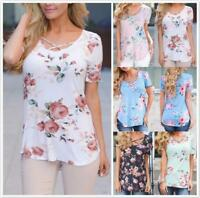 AU SELLER Women's Floral Cross V Neck Basic T-Shirt Top Tee Blouse SZ 8-22 T171
