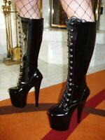 MEGA EXTREM Plateau High Heels Overknee Stiefel Schwarz 42 Absatz 20cm Lack