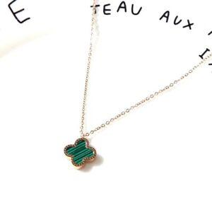 Double-Side Black/Green Flower Clover Titanium Rose Gold Pendant Necklace