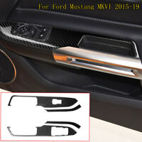 4x RHD Carbon Fiber Car Door Window Shift Panel Trim For Ford Mustang 6 2015-19