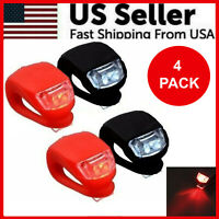4 Pcs Silicone Bicycle Bike Cycle Safety LED Head Front & Rear Tail Light Set US