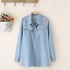 T640 New Lady Women's floral print Denim shirt blouse Tops Jeans Plus size 14-24