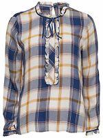 6/4 NEU ONLY Damen Bluse Hemd Tunika onlTEVIE FRILL SHIRT langarm Karo Gr. 38 M