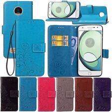 For Motorola Flower Pattern Leather Magnetic Case Card Holder Wallet Cover Strap