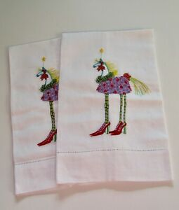 Rare Patience Brewster HORSE Embroidered Christmas Hand Towels Set 2