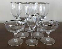 8 Crystal PEDESTAL GLASSES WITH SILVER TRIM Cordial, Wine, Desert/sherbet