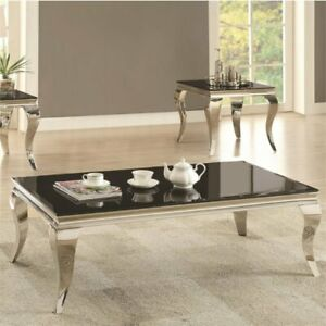 Coaster Rectangular Coffee Table in Chrome and Black
