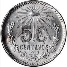 MEXICO ESTADOS UNIDOS 1919 50 CENTAVOS COIN CERTIFIED UNCIRCULATED NGC MS-64