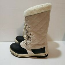 New Sociology Women's Fable Lace Front Weather Boots - Beige - Size: 9