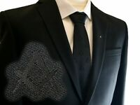 Black Tie with Discreet Freemasons Masonic Square and Compass S&C Design