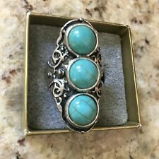 Big Bold Faux Turquoise Ring  Antiqued Silvertone Metal Size 7.5 BOHO Statement