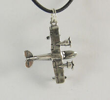 Airplane Pendant Necklace .925 Sterling Silver Charm USA Made Aircraft Air Force