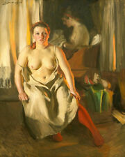 Anders Zorn Red Stockings 1914    Nude Wall  Art  Canvas
