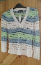"""New Knitted Stripe Jumper By Oyisis Design Chest 32""""  34"""" 8-10 White Blue Green"""