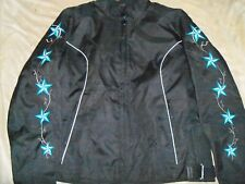 WOMENS/LADIES TEXTILE BLACK/AQUA MOTORCYCLE JACKET REFLECTIVE NEW 3XL EMBROIDERY