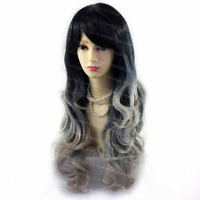 Wiwigs Beautiful Black & Grey Dip-Dye Ombre Long Layered Way Skin Top Ladies Wig