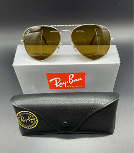 New Ray-Ban Aviator SUNGLASSES RB3025 58mm Gold Frames And  Brown Lenses