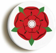 LANCASHIRE RED ROSE BADGE BUTTON PIN (Size is 1inch/25mm diameter)