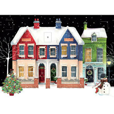 Advent Calendar Row Of Houses - Traditional Glitter Finish