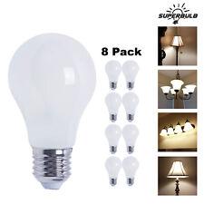 A19 LED 800 Lumen Light Bulb 2700K Warm White 6.5W 60W Equivalent E26 (8-Pack)