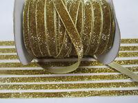 10 Meter Gold Borte Spitze Nichtelastisch Lurexband Glitzerband 1cm BB 252***